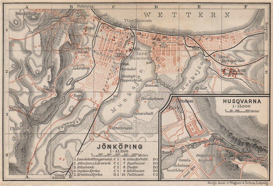 Associate Product JONKOPING Jönköping town city stadsplan. Inset Huskvarna. Sweden karta 1899 map