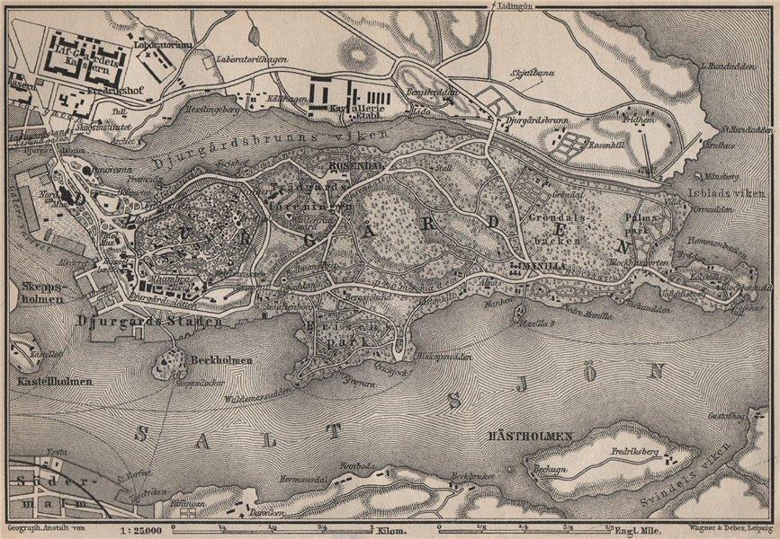 Associate Product DJURGARDEN Djurgården. Stockholm. Sweden karta. BAEDEKER 1899 old antique map