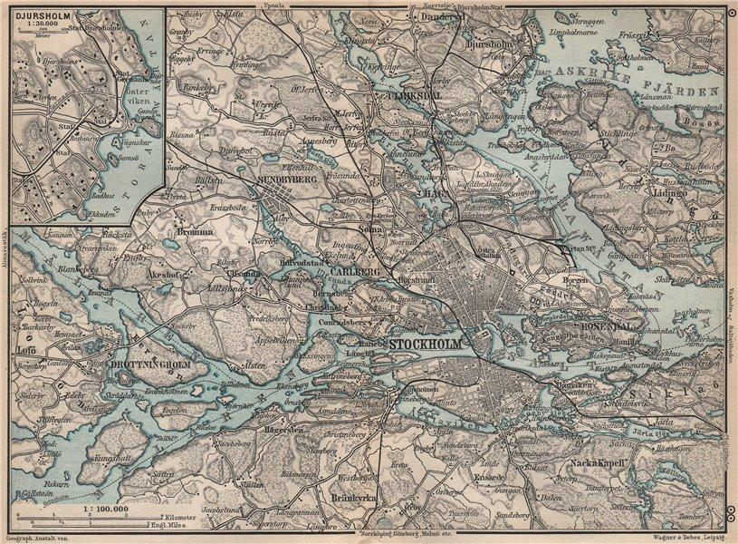 Associate Product STOCKHOLM ENVIRONS. Stockholms Omgifningar. Sweden karta. BAEDEKER 1899 map