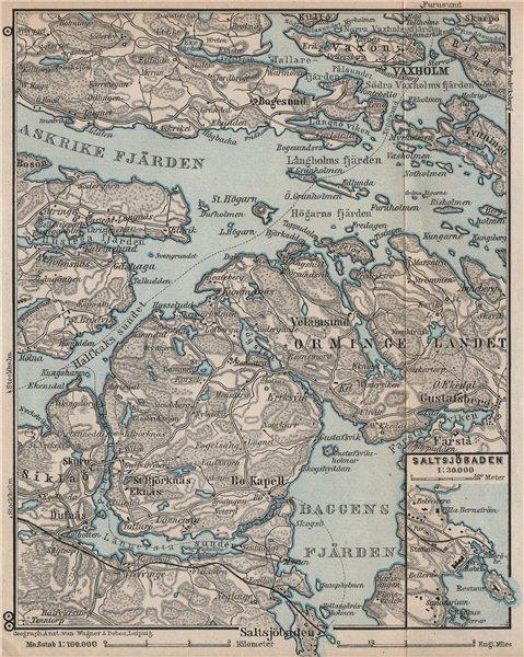 Associate Product STOCKHOLM EAST ENVIRONS. Saltsjöbaden Molna Vaxholm. Topo-map. Sweden 1899