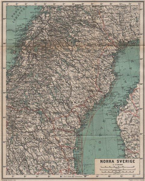Associate Product NORTHERN SWEDEN. Norra Sverige karta. BAEDEKER 1899 old antique map plan chart