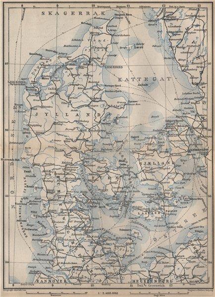 Associate Product DENMARK AND SLESVIG. Schleswig-Holstein. Railways kort. BAEDEKER 1899 old map