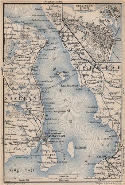 Associate Product ØRESUND Oresund. Shores of The Sound. Sweden Denmark Helsingor 1899 old map