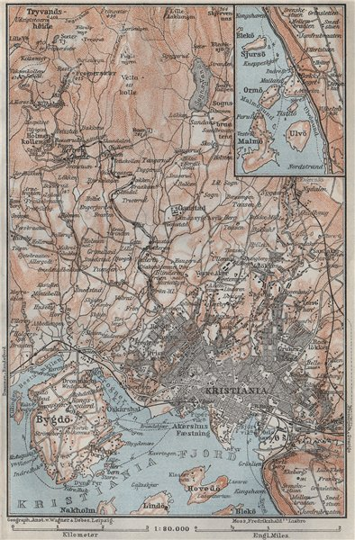 Associate Product OSLO ENVIRONS. Christiania Bygdo. Norway kart. BAEDEKER 1909 old antique map