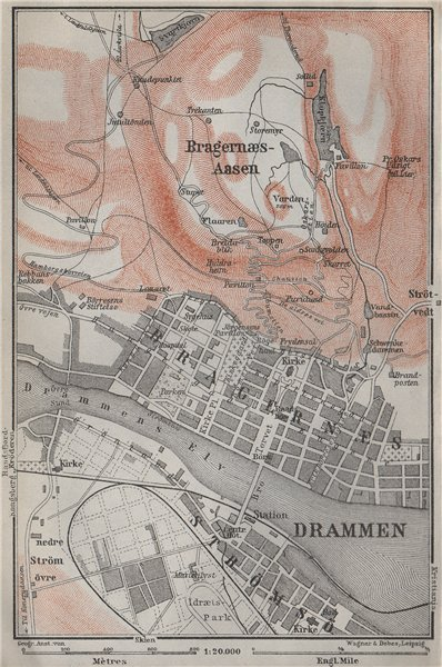 Associate Product DRAMMEN antique town city byplan. Norway kart. BAEDEKER 1909 old map