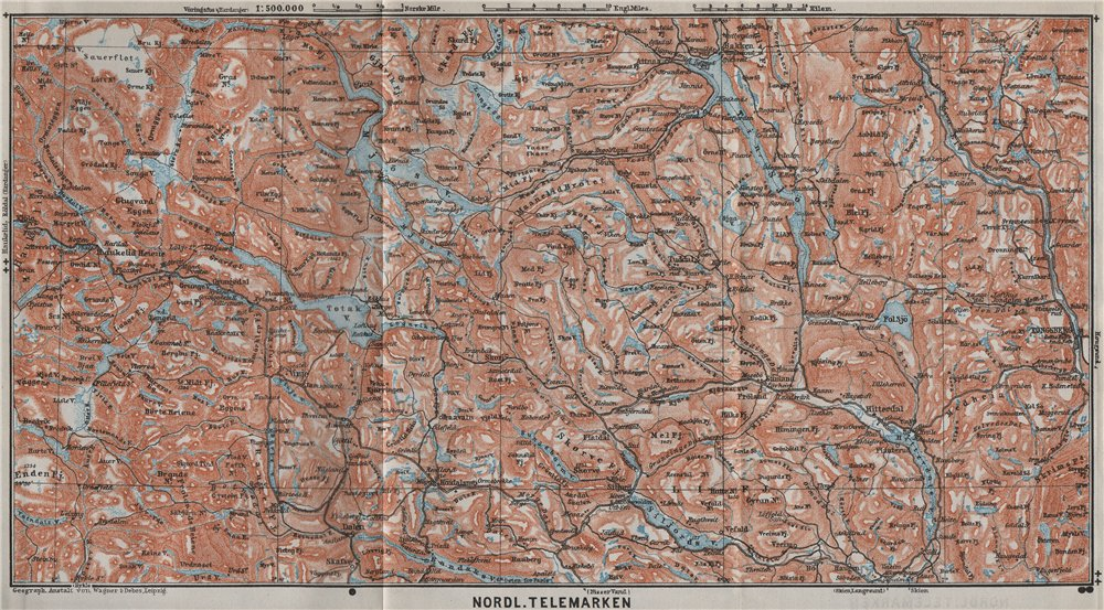 Associate Product NORTH TELEMARKEN topo-map. Kongsberg Dalen Bakken. Norway kart 1909 old