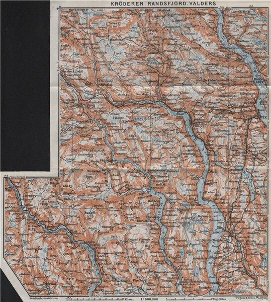Kroderen, Randsfjord & Valdres. Dokka Gjovik Jaren. Topo-map. Norway 1909