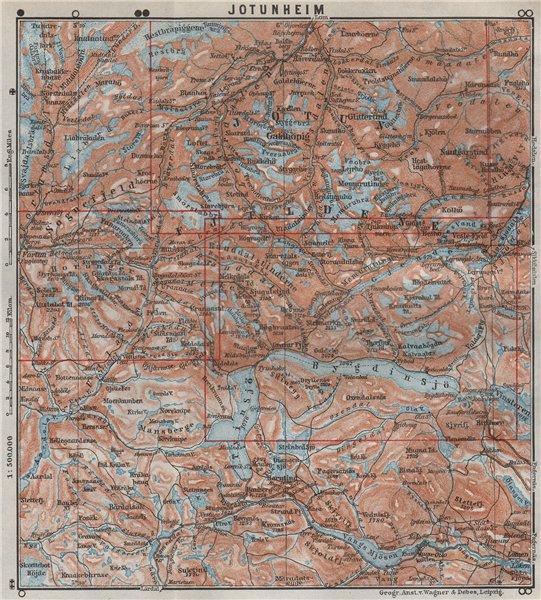 Associate Product JOTUNHEIMEN Nasjonalpark topo-map. Norway kart. BAEDEKER 1909 old antique