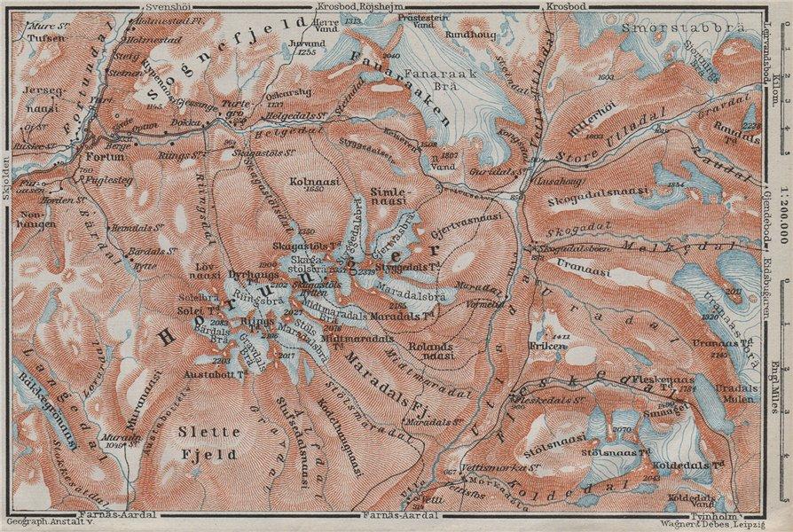 HURRUNGANE MOUNTAINS. Hurrungene Hurrungadn Horungane Topo-map. Norway 1909