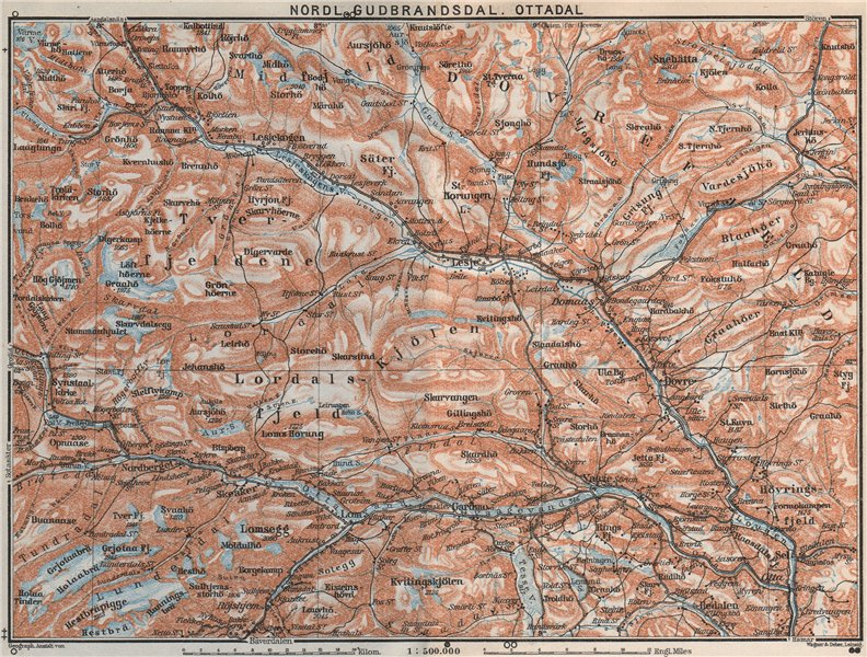 Associate Product NORTH GUDBRANDSDAL, OTTADAL Nordl. Dombas Dovrefjell. Topo-map. Norway 1909