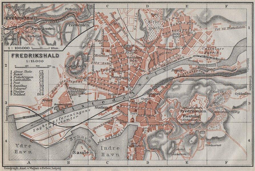Associate Product HALDEN Fredrikshald antique town city byplan. Norway kart. BAEDEKER 1909 map