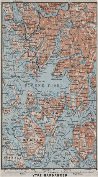 Associate Product OUTER HARDANGERFJORD topo-map. Bergen Stordo. Norway kart. BAEDEKER 1909