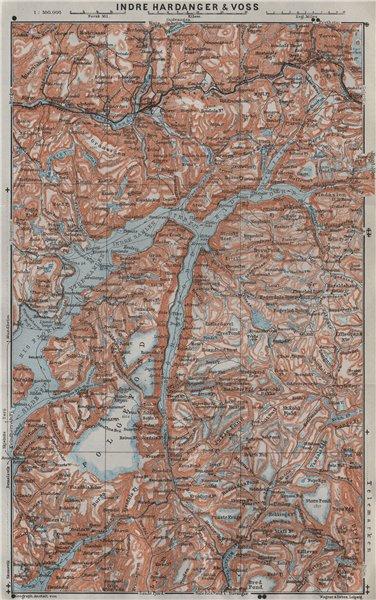 Associate Product INNER HARDANGERFJORD topo-map. Folgefonna. Norway kart. BAEDEKER 1909 old