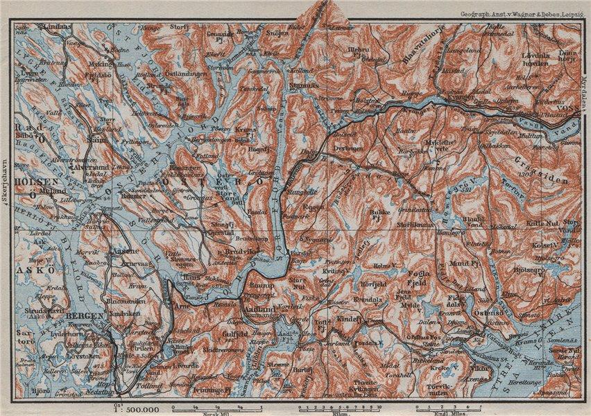 Associate Product BERGEN-VOSSVANGEN.Sørfjorden. Topo-map. Norway kart. BAEDEKER 1909 old