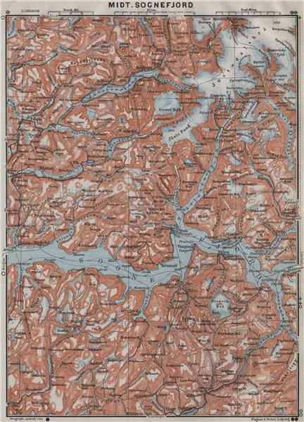 Associate Product CENTRAL SOGNEFJORD topo-map. Leikanger Sogndal. Norway kart. BAEDEKER 1909