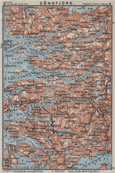 Associate Product SOGN OG FJORDANE. Sondfjord Söndfjord. Floro. Topo-map. Norway kart 1909