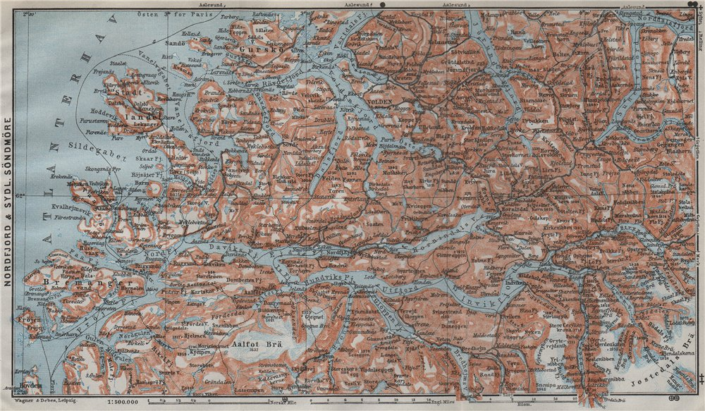 Associate Product NORDFJORD & SOUTHERN SONDMERE/Sunnmøre topo-map. Gloppen Volda. Norway 1909