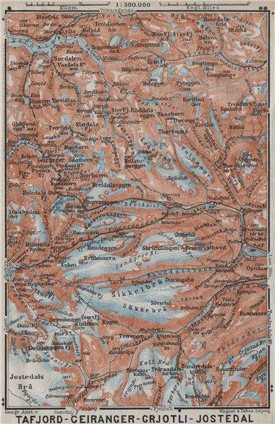 Associate Product Geiranger Polfos Tafjord Jostedal Grotli Topo-map. Norway kart 1909 old