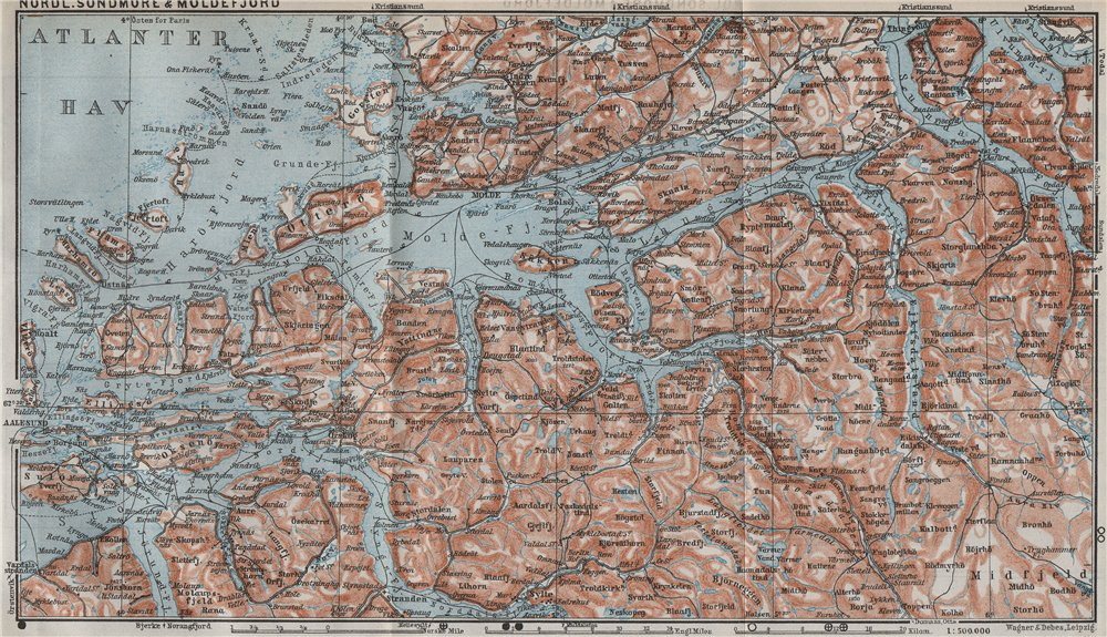 Associate Product NORTHERN SONDMERE/Sunnmøre & MOLDE FJORD. Alesund. Topo-map. Norway 1909