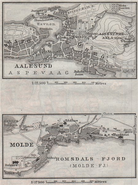 Associate Product ALESUND & MOLDE antique town city byplans. Norway kart. BAEDEKER. SMALL 1909 map