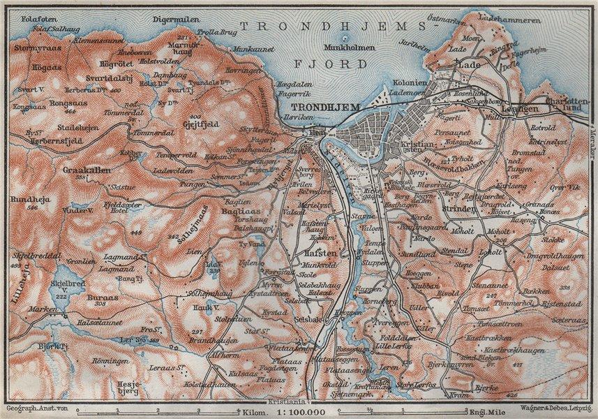 Associate Product TRONDHEIM Trondhejm environs. Norway kart. BAEDEKER 1909 old antique map chart