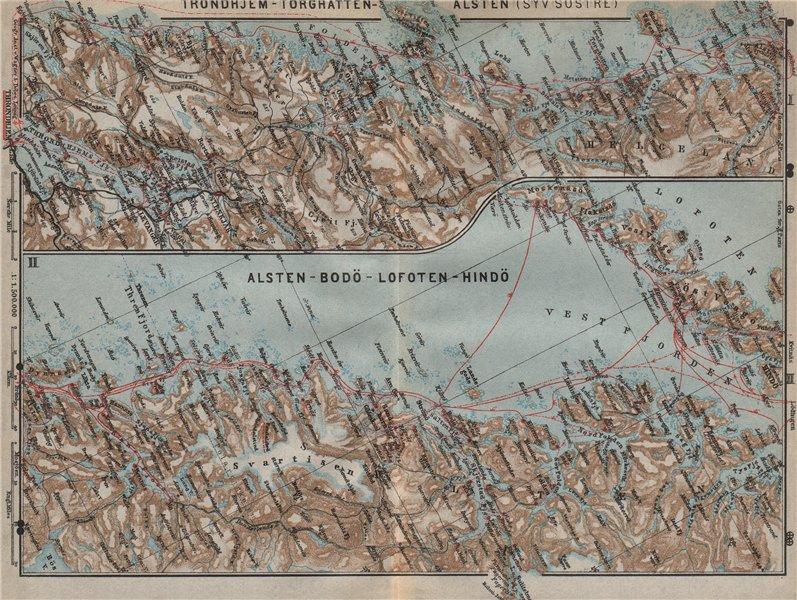 Associate Product NORWAY NORTH WEST COAST. Trondheim-Torghatten-Bodo-Lofoten kart 1909 old map
