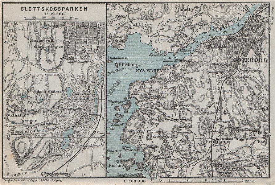 Associate Product GOTA ESTUARY. Göta älv. Gothenburg Göteborg environs. Sweden karta 1909 map