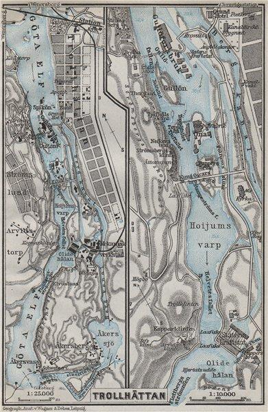 Associate Product TROLLHATTAN FALLS. Trollhättan. Topo-map. Sweden karta. BAEDEKER 1909 old
