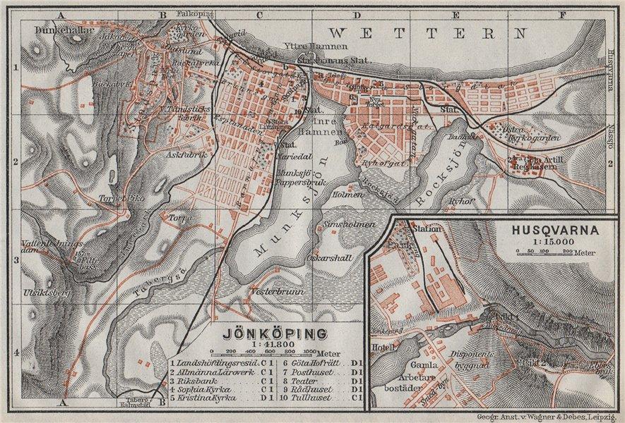 Associate Product JONKOPING Jönköping town city stadsplan. Inset Huskvarna. Sweden karta 1909 map