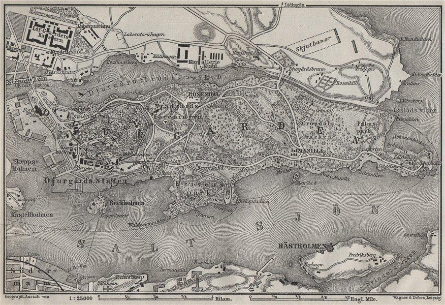 Associate Product DJURGARDEN Djurgården. Stockholm. Sweden karta. BAEDEKER 1909 old antique map