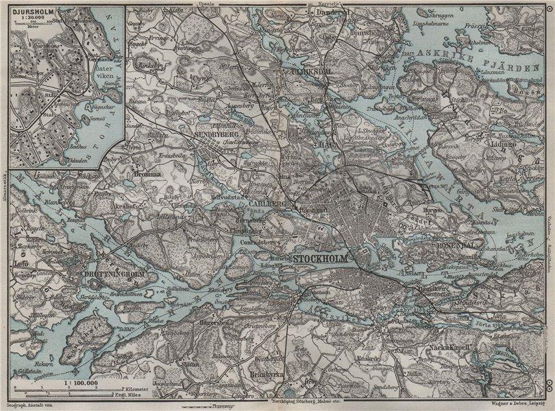 Associate Product STOCKHOLM ENVIRONS. Stockholms Omgifningar. Sweden karta. BAEDEKER 1909 map