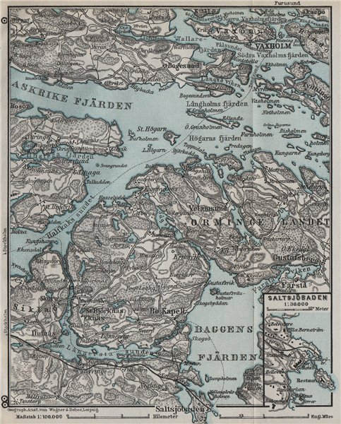 Associate Product STOCKHOLM EAST ENVIRONS. Saltsjöbaden Molna Vaxholm. Topo-map. Sweden 1909