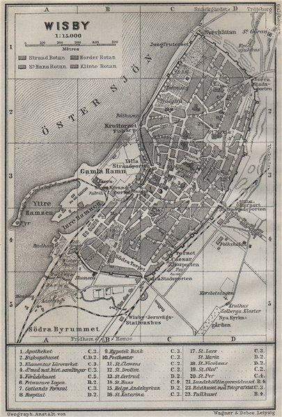 Associate Product VISBY Wisby antique town city stadsplan. Sweden karta. BAEDEKER 1909 old map