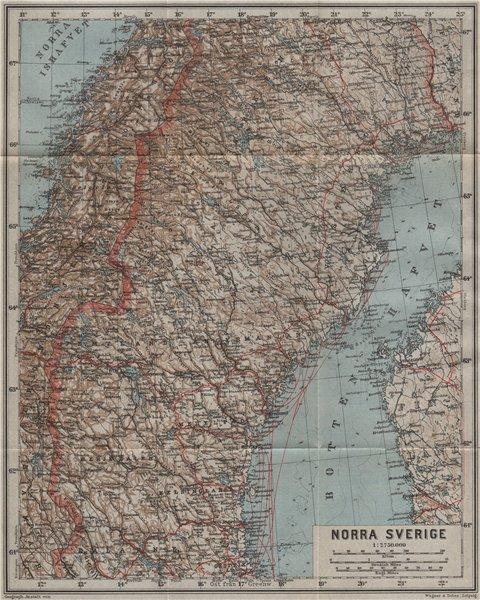 Associate Product NORTHERN SWEDEN. Norra Sverige karta. BAEDEKER 1909 old antique map plan chart