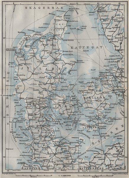 Associate Product DENMARK AND SLESVIG. Schleswig-Holstein. Railways kort. BAEDEKER 1909 old map