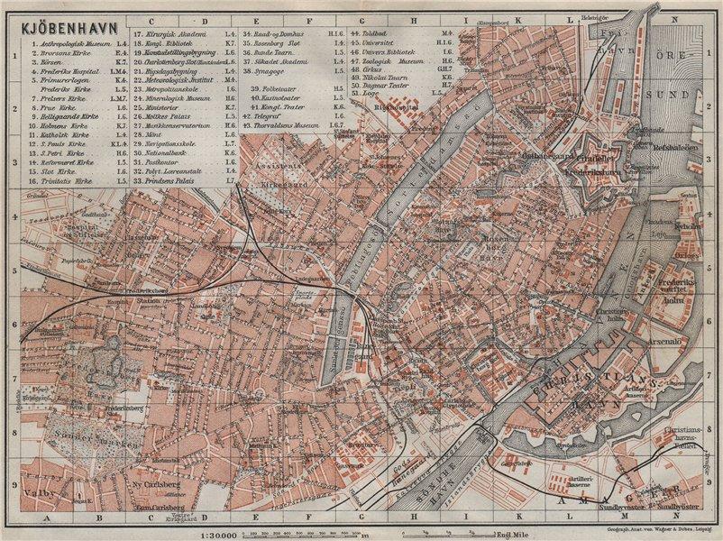 Associate Product COPENHAGEN København Kobenhavn antique town city byplan. Denmark kort 1909 map