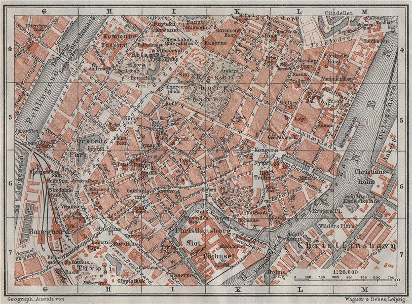 Associate Product COPENHAGEN København Kobenhavn INNER TOWN city byplan. Denmark kort 1909 map