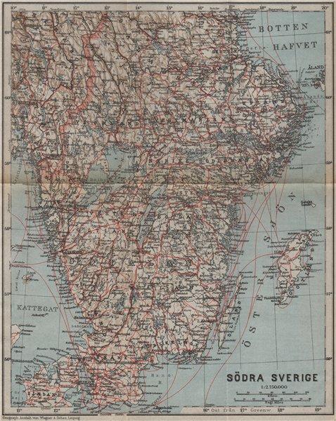Associate Product SOUTHERN SWEDEN. Södra Sverige karta. BAEDEKER 1909 old antique map plan chart