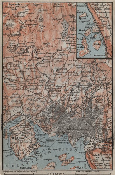 OSLO ENVIRONS. Christiania Bygdo. Norway kart. BAEDEKER 1912 old antique map