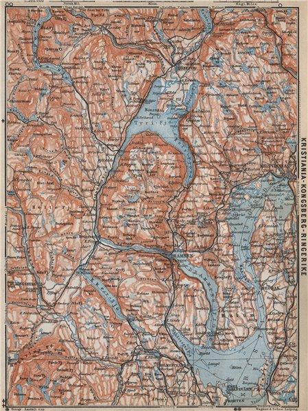Associate Product INNER OSLOFJORD. Tyrifjord Kongsberg Lake Krøderen Topo-map. Norway 1912