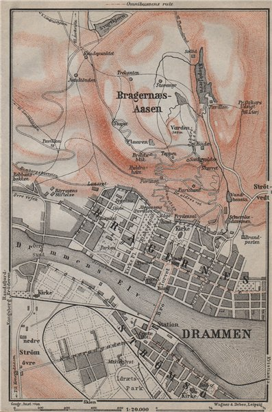 Associate Product DRAMMEN antique town city byplan. Norway kart. BAEDEKER 1912 old map