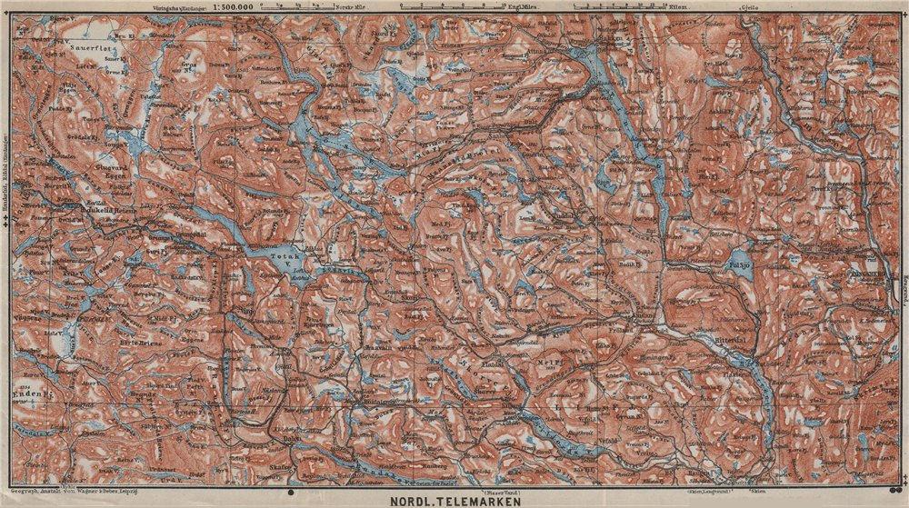 Associate Product NORTH TELEMARKEN topo-map. Kongsberg Dalen Bakken. Norway kart 1912 old