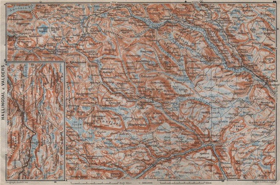 Associate Product HALLINGDAL & VALDRES. Hemsedal Fagernes Aurdal. Topo-map. Norway kart 1912