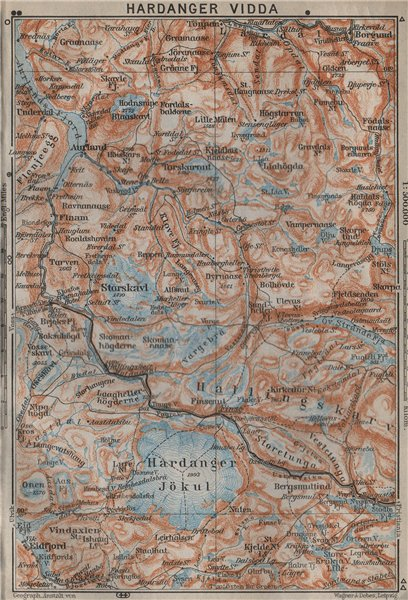Associate Product HARDANGERVIDDA. Hardangerjokulen. Topo-map. Norway kart. BAEDEKER 1912 old