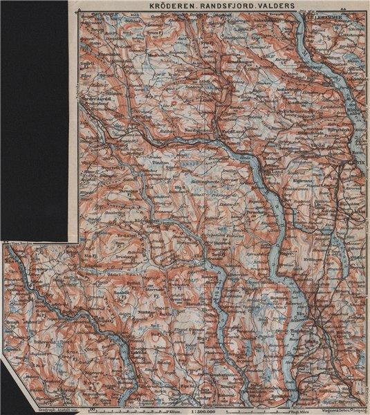 Associate Product Kroderen, Randsfjord & Valdres. Dokka Gjovik Jaren. Topo-map. Norway 1912