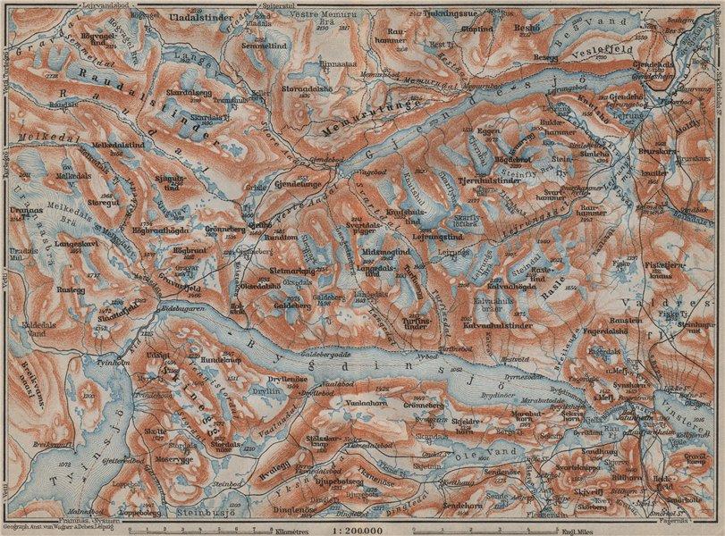kart gjende LAKES BYGDIN AND GJENDE Topo map. Jotunheimen. Norway kart  kart gjende