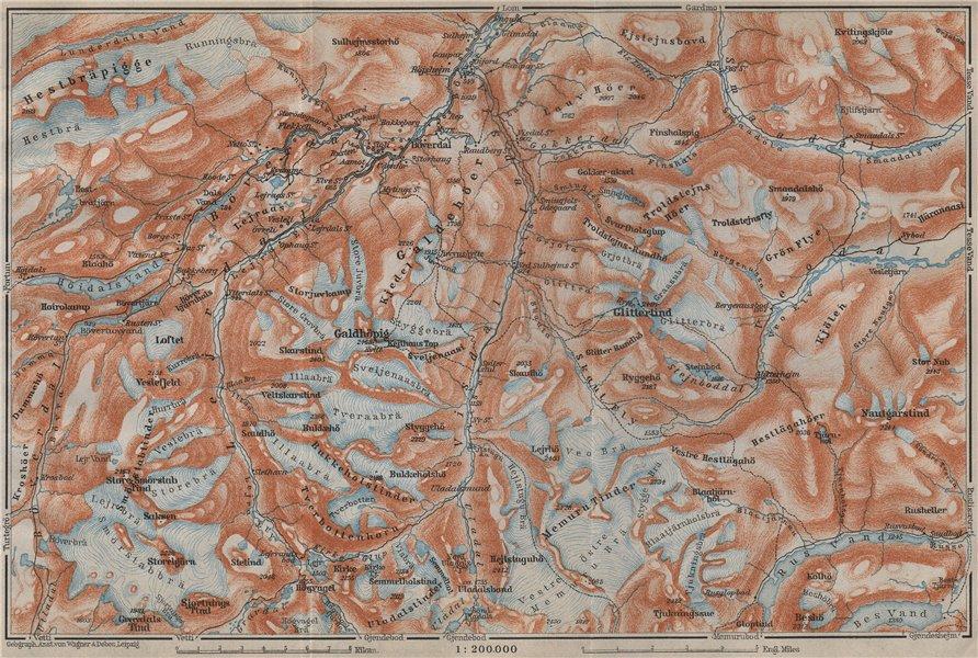 Associate Product Galdhøpiggen and Glittertind mountains. Jotunheimen. Topo-map. Norway 1912
