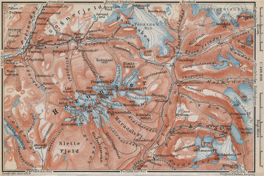 Associate Product HURRUNGANE MOUNTAINS. Hurrungene Hurrungadn Horungane Topo-map. Norway 1912
