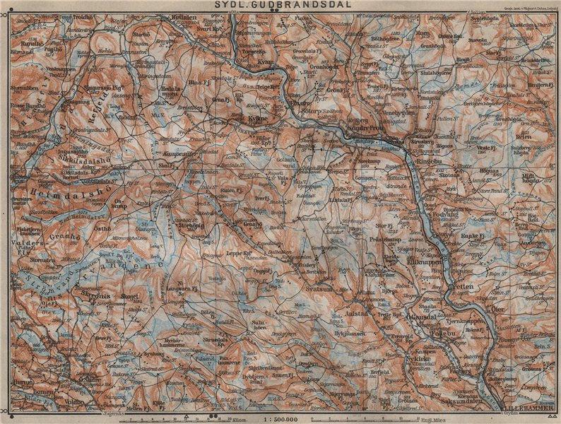 Associate Product SOUTH GUDBRANDSDAL. Sydl. Lillehammer Favang. Topo-map. Norway kart 1912