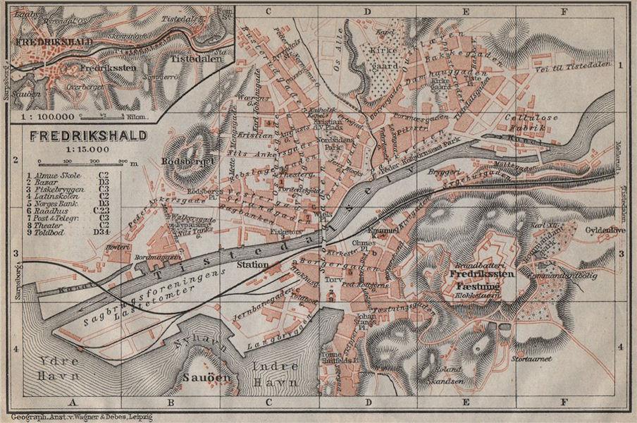 Associate Product HALDEN Fredrikshald antique town city byplan. Norway kart. BAEDEKER 1912 map